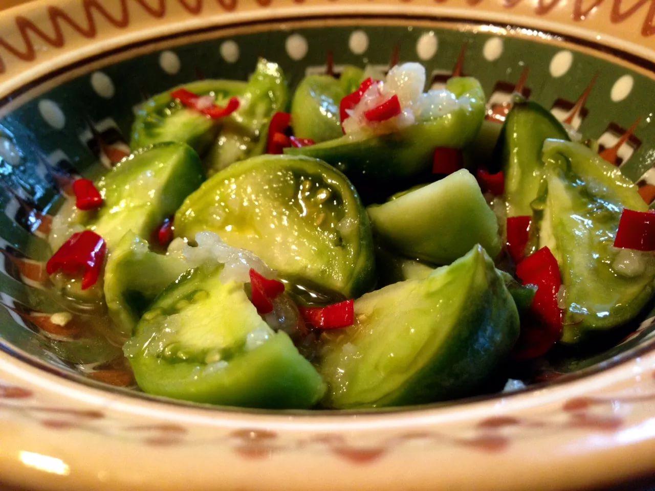 Рецепт с салат из зеленых помидор